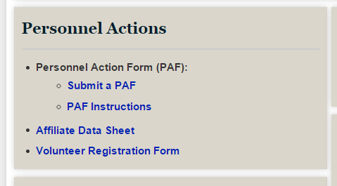Screenshot of PAF links on the PRS/SSC homepage.