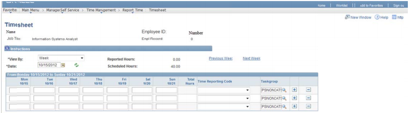 Screenshot of an electronic time sheet used to report hours worked in HR/Pay