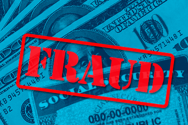 "Unemployment fraud: image with blue wash showing $100 bills and social security card with red ""Fraud"" stamp"