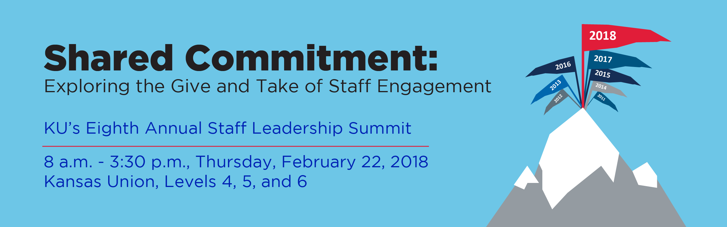 Staff Leadership Summit Logo. This photo includes the date of Thursday, February 22 and the time of 8:00am to 3:30pm