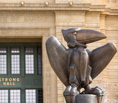 Jayhawk statue in front of Strong Hall