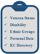 Clipboard with self identifications options: Veteran Status, Disability, Ethnic Groups, Personal Data, KU Directory
