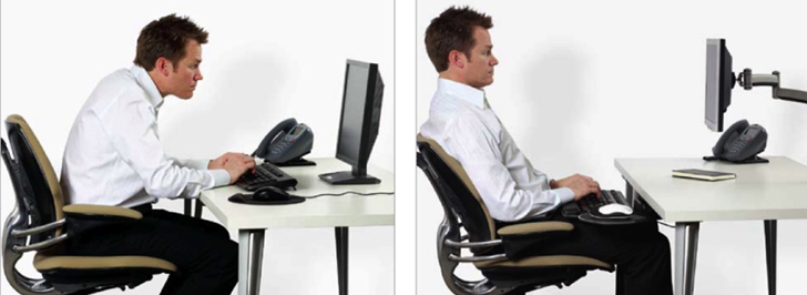 Image of man sitting incorrectly without a keyboard tray and correctly with a tray.